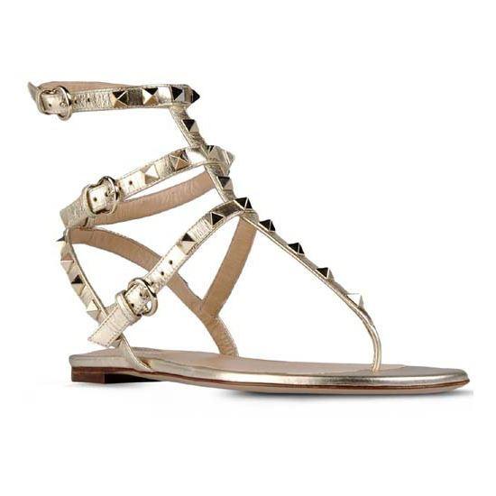 Valentino Rockstud Ankle-Wrap Gold