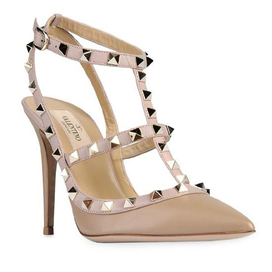 a11077e763f2 Valentino Rockstud 100mm Nude Leather T-Strap Sandal Pumps ...