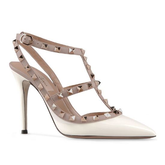 ff9f163443e Valentino Rockstud 100mm White Patent Leather T-Strap Slingbacks ...