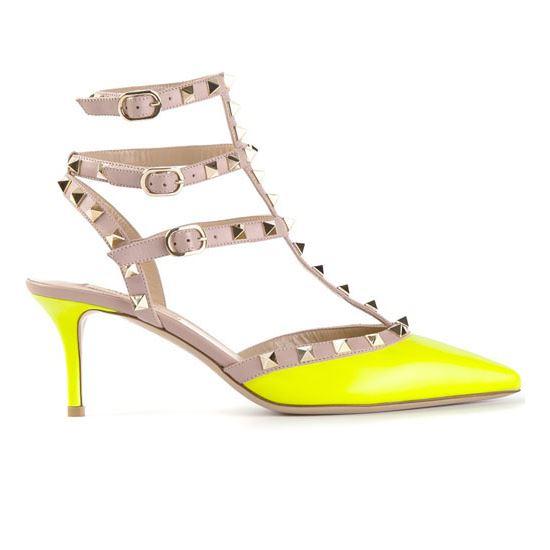 Valentino Rockstud 65mm Neon Yellow